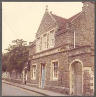 Bristol. Close up of the entrance of the Bishop Road School Board for Horfield where Paul Dirac was educated