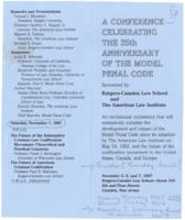 Conference Celebrating the 25th Anniversary of the Model Penal Code