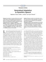 Generalized Adaptation to Dysarthric Speech.