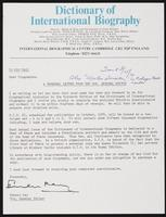 A Personal Letter from the Hon. General Editor at the International Biographical Centre