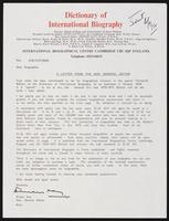 A Letter from the Hon. General Editor at the International Biographical Centre