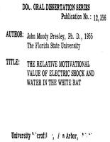 THE RELATIVE MOTIVATIONAL VALUE OF ELECTRIC SHOCK AND WATER IN THE WHITE RAT