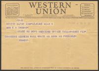 """Ernest """"Boots"""" Thomas telegram to Martha Thorton Thomas, March 9, 1944"""