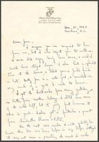 """Ernest """"Boots"""" Thomas letter to his Sister, Jean Thomas, December 31, 1943"""