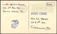 """Ernest """"Boots"""" Thomas postcard to his mother, Martha Thorton Thomas, September 9, 1943"""