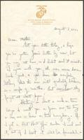 "Ernest ""Boots"" Thomas letter to his mother, Martha Thorton Thomas, August 8, 1944"