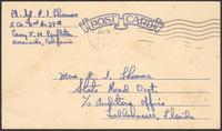 Ernest I. Thomas Jr. postcard to mother, Martha Thorton Thomas, July 18, 1944
