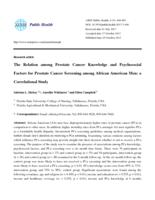 Relation among Prostate Cancer Knowledge and Psychosocial Factors for Prostate Cancer Screening among African American Men