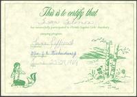 Certificate, Florida Baptist Girls' Auxiliary camping program, 1969