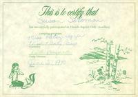 Certificate, Florida Baptist Girls' Auxiliary camping program, 1970