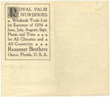 Royal Palm Nurseries wholesale trade-list for Summer 1896