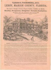 Informational pamphlet for potential settlers and investors of Leroy, Marion County, Florida