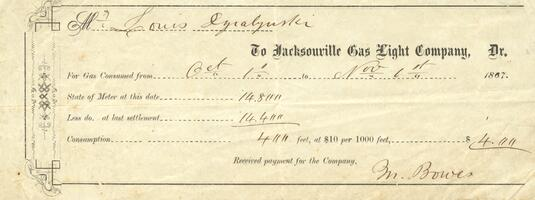 Receipt for payment to the Jacksonville Gas Light Company