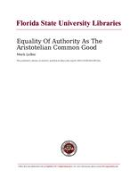 Equality Of Authority As The Aristotelian Common Good