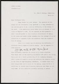 Copy of a letter from Paul Dirac to Niels Bohr