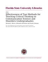 Effectiveness of Two Methods for Teaching Critical Thinking to Communication Science and Disorders Undergraduates