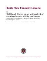 Childhood illness as an antecedent of perceived vulnerability to disease
