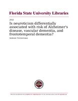 Is neuroticism differentially associated with risk of Alzheimer's disease, vascular dementia, and frontotemporal dementia?