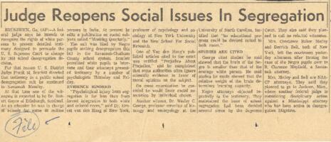 News clippings and documentation of integration and segregation issues