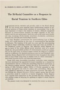 Biracial Committee as a Response to Racial Tension in Southern Cities
