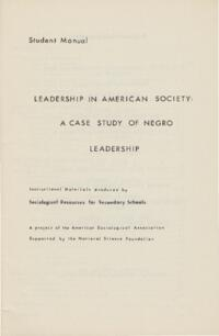 Leadership in American Society: A Case Study of Negro Leadership