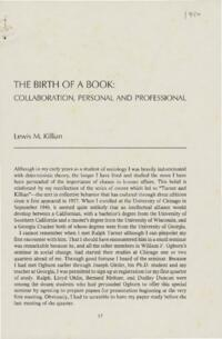 Birth of a Book: Collaboration, Personal and Professional