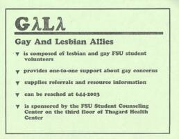 Gay and Lesbian Allies (GALA) Flyer