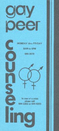 Gay Peer Counseling brochure
