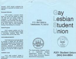 Gay/Lesbian Student Union (blue) brochure