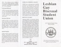 Lesbian, Gay, Bisexual Student Union brochure