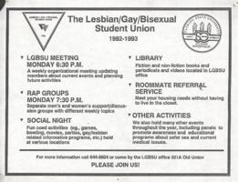 Lesbian, Gay, Bisexual Student Union flyer