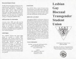 Lesbian, Gay, Bisexual, Transgender Student Union brochure