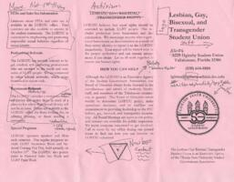 Lesbian, Gay, Bisexual, Transgender Student Union brochure (pink with handwriting)