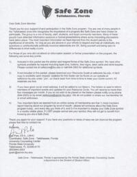 Safe Zone letter and manual
