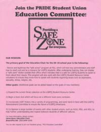 Join the PRIDE Student Union Education Committee Flyer