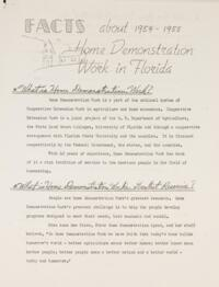 Facts About 1954 - 1955 Home Demonstration Work in Florida