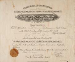 Certificate of Registrations with Sunday School Young People's Adult Department