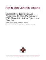 Grammatical Judgment And Production In Male Participants With Idiopathic Autism Spectrum Disorder