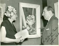 Inscribed picture of Claude and Mildred Pepper viewing Josephine Black's painting