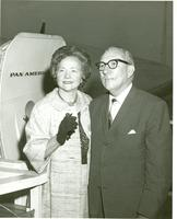Claude and Mildred Pepper in front of a Pan American Airplane
