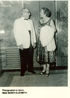 Claude and Mildred Pepper in formal clothing aboard the RMS Queen Elizabeth