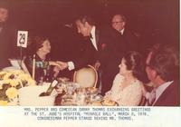 Claude and Mildred Pepper greeting comedian Danny Thomas at a charity event