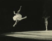 Ballerina leaping in tutu