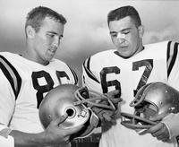 Seminole Football Captains Examine New Helmet Face Guards, 1962