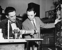 Dr. Guenter Schwarz and Richard D. Deslattes, 1956