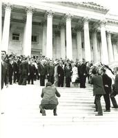 Astronaut L. Gordon Cooper on the steps of the Capitol with Vice-President Lyndon Johnson