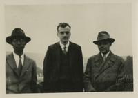 Paul Dirac with Sugiura and unknown person