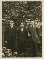 Paul Dirac with Sugiura and J. Robert Oppenheimer