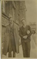 Paul Dirac with Werner Heisenberg in street