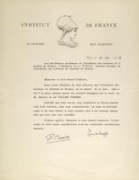 Letter from the French Academy of Sciences to Paul A. M. Dirac